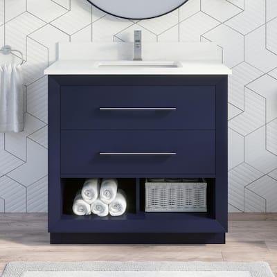 36 Inch Vanities Blue Bathroom Vanities Bath The Home Depot