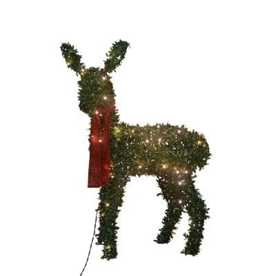 36 in. Topiary Fawn, with 80 Lights Knock Down