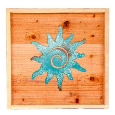 18 in. x 18 in. Wood Wall Art with Patina Sun