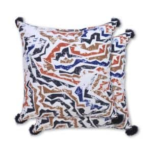 Abstract Grunge Square Outdoor Throw Pillow (2-Pack)