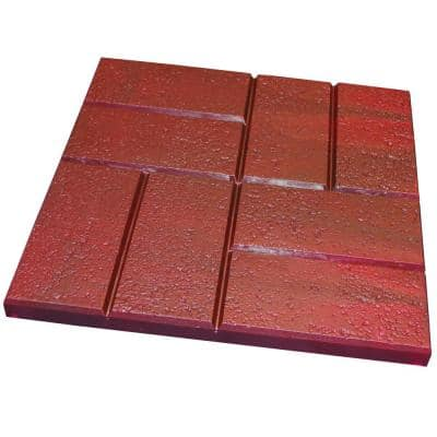 16 in. x 16 in. Plastic Deep Red Brick Pattern Resin Patio Pavers (12-Pack)