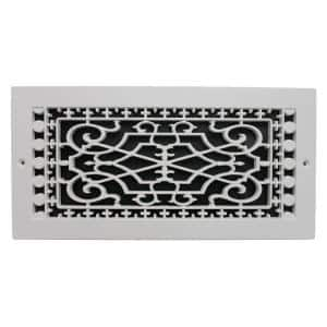 Victorian Base Board 14 in. x 6 in. Opening, 8 in. x 16 in. Overall Size, Polymer Decorative Return Air Grille, White