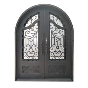72 in. x 96 in. Aged Bronze Right-Hand Inswing 3/4 Lite Clear Double-Glazed Iron Prehung Front Door
