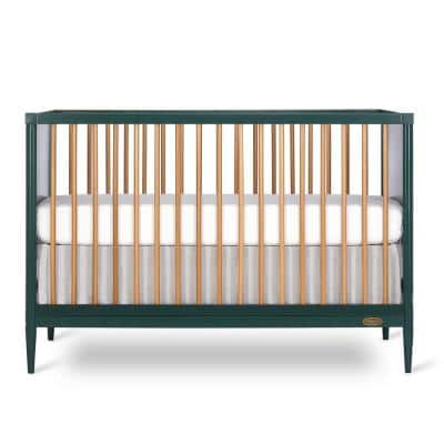 Clover 4-In-1 Olive Modern Island crib With Rounded Spindles I Convertible Crib I Mid- Century Meets Modern