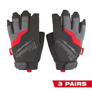 Large Fingerless Work Gloves (3-Pack)