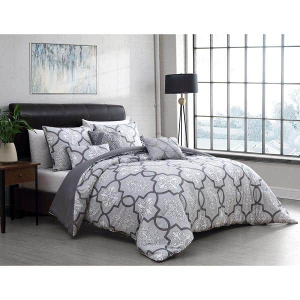 Lawton 6 Piece Gray Queen Size, Grey Queen Size Bed Sets