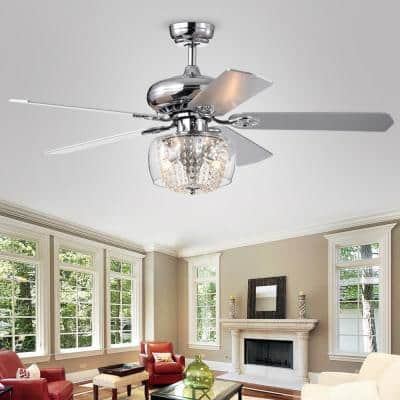 52 in. Indoor Chrome Ceiling Fan with Crystal Strand Light Kit and Remote Control