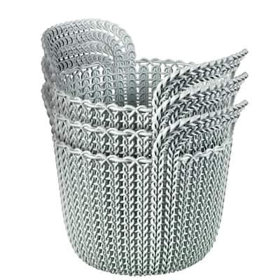3.0 Qt. Knit Round X-Small Storage Basket Set in Misty Blue (3-Piece)