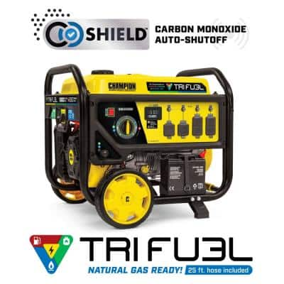 10,000/8,000-Watt Electric Start Gasoline Propane and Natural Gas Tri-Fuel Portable Generator with NG and LPG Hoses