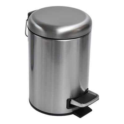 3 l/ 0.8 Gal. Soft Close Small Round Metal Bath Floor Step Trash Can Waste Bin in Steel