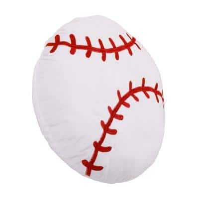 Sports White and Red Baseball with Embroidery 13 in. x 13 in. Decorative Pillow