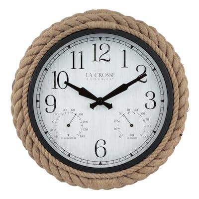 14 In. Rowan Indoor/Outdoor Rope Analog Quartz Wall Clock