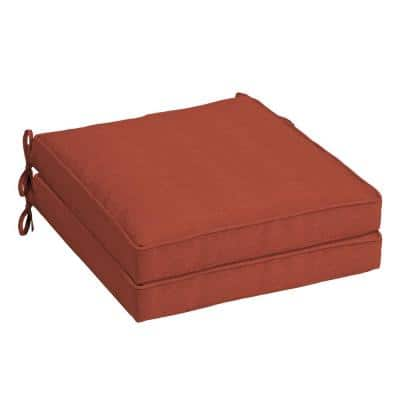 Sedona Woven Square Outdoor Welted Dining Seat Cushion (2-Pack)