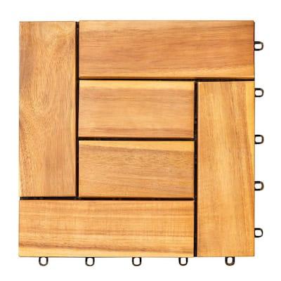 Malibu 1 ft. x 1 ft. Interlocking Acacia Wood Deck Tile in Honey (10 Per Box)
