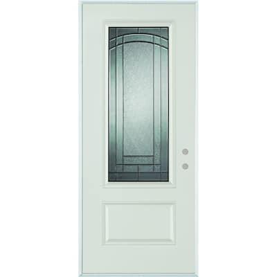 36 in. x 80 in. Chatham 3/4 Lite 1-Panel Painted Left-Hand Inswing Steel Prehung Front Door