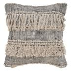 Zanthia Natural and Black Geometric Hypoallergenic Polyester 20 in. x 20 in. Throw Pillow