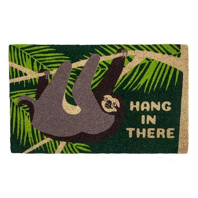 Hang In There 28 in. x 17 in. Coir Door Mat