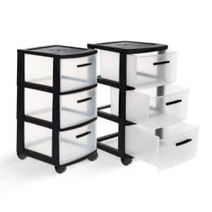 3-Drawer Resin Rolling Cart in Clear and Black (2-Pack)