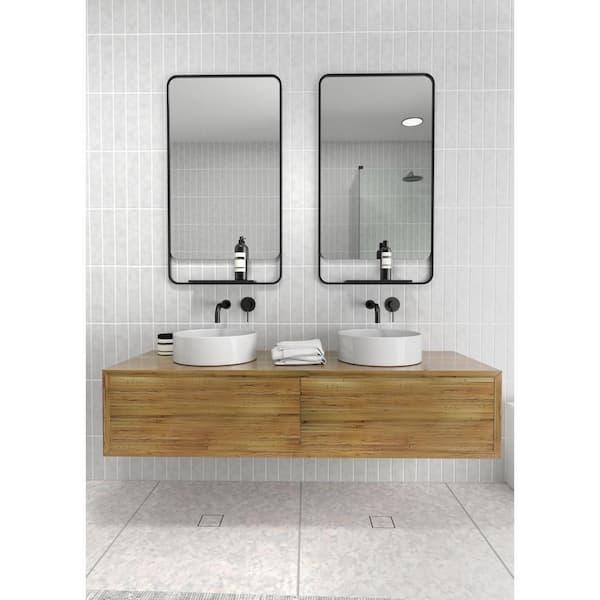 Glass Warehouse 22 In W X 40 In H Framed Radius Top Bathroom Vanity Mirror In Black Mf Shelf B The Home Depot