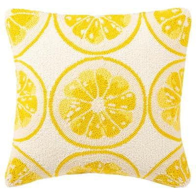 Lemon Squeeze Yellow/White Square Outdoor Throw Pillow