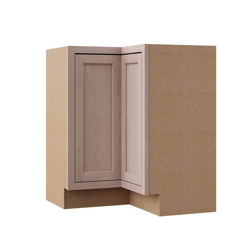 Hampton Bay Hampton Unfinished Beech Recessed Panel Assembled Lazy Susan Corner Base Kitchen Cabinet 28 5 In X 34 5 In X 16 5 In Kblsn36 Uf The Home Depot
