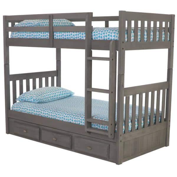 American Furniture Classics Charcoal Twin Over Twin Solid Wood Bunkbed with 3-Drawer Underbed Storage   The Home Depot
