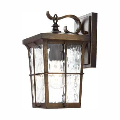 Barrington 1-Light Golden Bronze Outdoor 11.25 in. Wall Lantern Sconce with Clear Water Glass