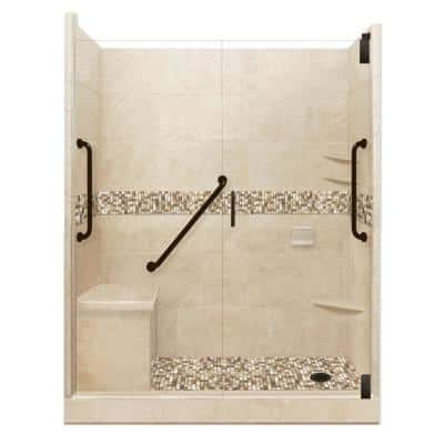 Roma Freedom Grand Hinged 32 in. x 60 in. x 80 in. Right Drain Alcove Shower Kit in Brown Sugar and Old Bronze Hardware