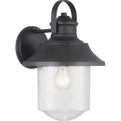 Weldon Collection 1-Light Textured Black Clear Seeded Glass Farmhouse Outdoor Large Wall Lantern Light