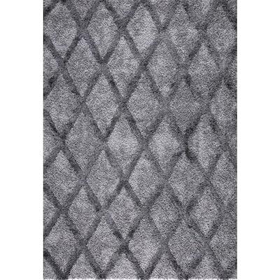 Valencia Gray Shag 5 ft. x 7 ft. Trellis Shag Area Rug