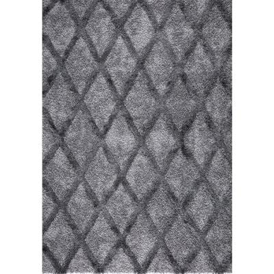 Valencia Gray Shag 6 ft. x 9 ft. Trellis Shag Area Rug