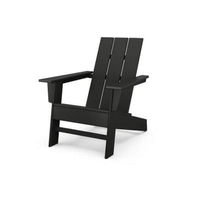Grant Park Black Modern Plastic Outdoor Patio Adirondack Chair