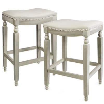 28.5 in. Rustic Gray/Beige Classic Isabel Backless Counter Saddle Stool (Set of 2)
