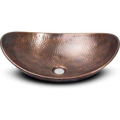 19 in. Hand Hammered Harbor Vessel Bathroom Sink in Pure Copper
