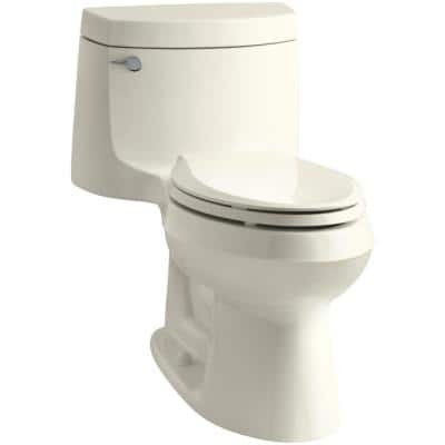 Cimarron 1-piece 1.28 GPF Single Flush Elongated Toilet with AquaPiston Flush Technology in Biscuit, Seat Included