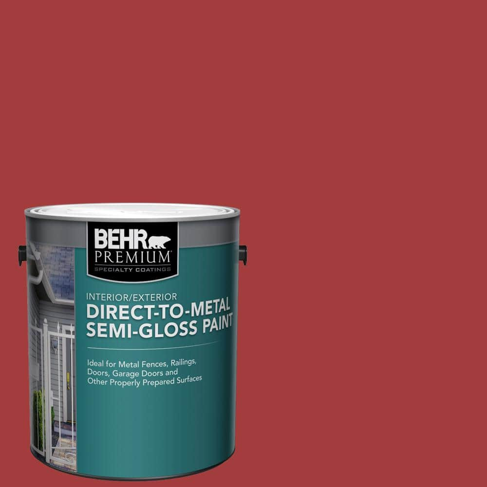 Behr Premium 1 Gal Red Semi Gloss Direct To Metal Interior Exterior Paint 321001 The Home Depot