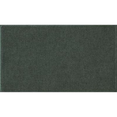 Aqua Shield Squares 35 in. x 59 in. PET Polyester Doormat Evergreen