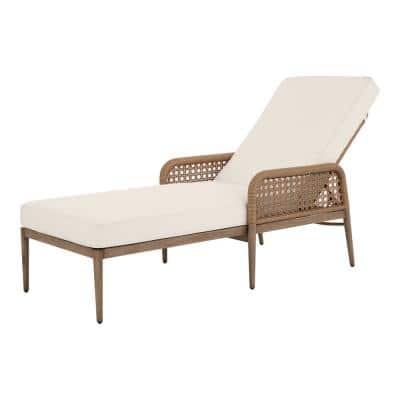 Coral Vista Brown Wicker Outdoor Patio Chaise Lounge with CushionGuard Almond Tan Cushions