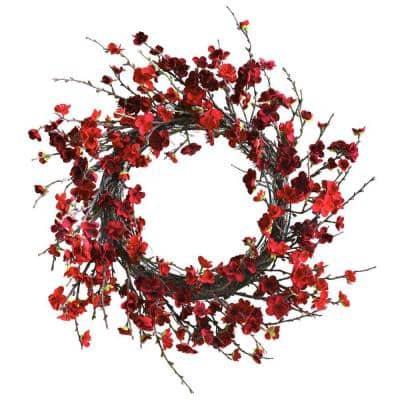 24 in. Artificial Plum Blossom Wreath