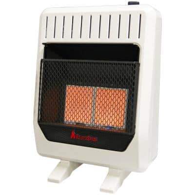 20,000 BTU, Dual Fuel Ventless Infrared Plaque Heater With Base and Blower, T-Stat Control