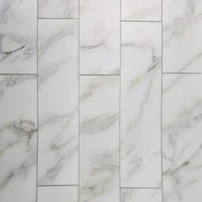 Handmade Décor White & Gold Marble Look Large Format 4 in. x 16 in. Matte Glass Decorative Wall Tile (6 Pc/Pack)