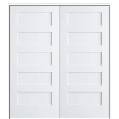 Shaker Flat Panel 72 in. x 80 in. Both Active Solid Core Primed Composite Double Prehung French Door w/ 4-9/16 in. Jamb