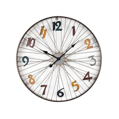 Modern Metal Wall Clock With Coloured Number