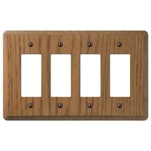 Contemporary 4 Gang Rocker Wood Wall Plate - Medium Oak