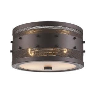 Column 11 in. 2-Light Rubbed Oil Bronze Ceiling Flush Mount