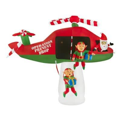 8 ft Pre-Lit LED Animated Santa and Elves in Helicopter Scene Christmas Inflatable