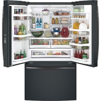 Profile 23.1 cu. ft. French Door Refrigerator in Black Slate, Counter Depth, Fingerprint Resistant and ENERGY STAR