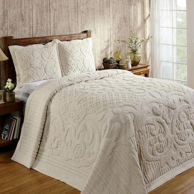 Ashton 3-Piece 100% Cotton Ivory Queen Medallion Design Bedspread Coverlet Set