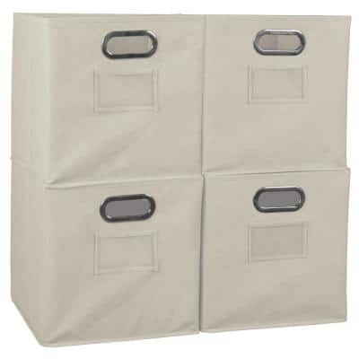 Cheer 12 in. D x  12 in. W x 12 in. H Beige Folding Fabric Bin (4-Pack)