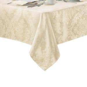60 in. W x 144 in. L Antique Elrene Barcelona Damask Fabric Tablecloth